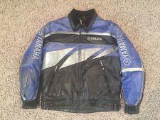 J139 YAMAHA MENS MEDIUM BLUE BLACK LEATHER RACING JACKET LINED COAT MOTO