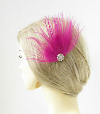 Hot Pink Silver Peacock Feather Hair Comb Fascinator Vintage 1920s Headpiece 206