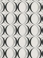 Wallpaper Retro Modern Silver and Black Ogee Circles on White & Pearl Off White