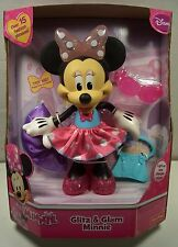 """DISNEY """"GLITZ & GLAM MINNIE"""" TOY FOR GIRLS 2+ LIGHT-UP BOW,15 PHRASES,BATTERIES"""
