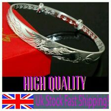 925 STERLING SILVER bangle extendable craved lady girl friend birthday gift +bag