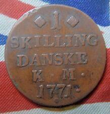 Denmark: 1771 - 1 Skilling Danske- Christian V11 - Nice Condition