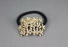Gold metal cuff genie style ponytail holder stretch elastic pony tail cover