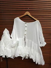 OSFA W RITANOTIARA MAGNOLIA BOW WHITE COTTON PRAIRIE GYPSY COAT JACKET TOP BOHO