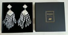 Balmain X H&M Paris Ohrringe Ohrclips Strass Weiß Earrings Rhinestone White Neu