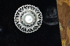 Vintage Round Mother-of-Pearl Brooch