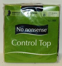 No Nonsense Control Top Pantyhose Trims Tummy & Hips  Sheer Toe OFF BLACK Size B