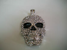 Silver Finish With Clear CZ Hip Hop Bling  Skull Fashion Pendant