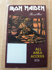 IRON MAIDEN Laminated ALL AREA ACCESS Backstage Tour Pass - PIECE OF MIND