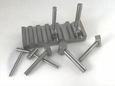 FORMING DAPPING METAL SWAGE BLOCK U-CHANNEL METAL BLOCK WITH 7 HAMMER PUNCHES