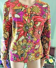 Laura Ashley Jacket Fully Lined Petite L BoHo Hippie Mod Style With Sequins MINT