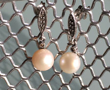 Beautiful marcasite Silver Post  Earring with White Freshwater Pearl SALE