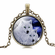 Vintage  Wolf Totem Cabochon Bronze Glass Chain Pendant Necklace b45
