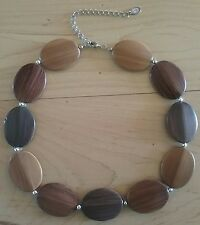 Cookie Lee Wood Silver Beaded Necklace Adjustable Fashion Jewelry Pendant EUC