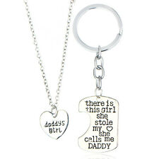 2PC Gifts There Is This Girl Pendant Necklace Silver Keyring Keychains Dad Daddy