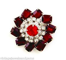 JULIANA RED CLEAR WHITE & SILVER Vtg Crystal Rhinestone Flower Daisy Brooch Pin