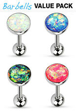 4pc Value Pack Opal Glitter Tongue Rings 14g Tounge Body Jewelry