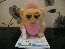 ****EMOTO-TRONIC FURBY FURBIE BABY  YELLOW WITH A PINK TUMMY & BOTTLE****