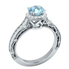 1.05 ct Certified Natural Diamond & Aquamarine 14K White Gold Engagement Ring