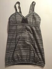 RARE LULULEMON Gray SPEED UP TANK Top Size 4 Coal Strata Stripe Yoga Athletic