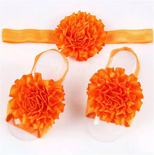 1set/3Pcs  Baby Infant Headband Foot Flower Elastic Hair Band Accessory Orange 1