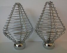 Pair of Chrome Effect Metal Cage Finials End For 28mm Curtain Pole