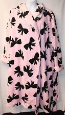 NEW WOMENS PLUS SIZE 22W 24W  PINK BLACK RIBBONS W ATTACHED HOOD HOUSE BATH ROBE
