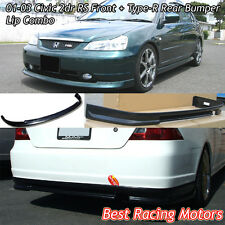01-03 Civic 2dr RS Style Front (PP) + Type-R Rear (ABS) Bumper Lip Combo