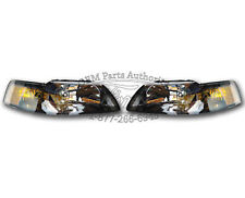 NEW OEM 2001-2004 Ford Mustang Headlight PAIR - Black SVT Cobra GT Terminator