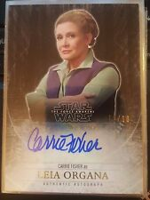 2015 Star Wars Force Awakens Carrie Fisher Leia Organa 10/10 GOLD Autograph Auto