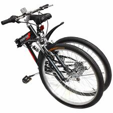 "26"" Folding Mountain Bicycle 7-Speed Shimano FOLDABLE Bike Black MTB Sport"