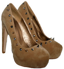 "LADIES 5"" HEEL CAMEL FAUX SUEDE SLIP ON SHOE WITH A SPIKE STUD TRIM IN SIZE 5"