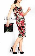 Dolce & Gabbana AUTH NWT Poppy Daisy Print Ruching Silk Charmeuse Dress 42