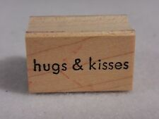 Rubber Stamp : Hugs & Kisses Saying Sentiment - Memory Box