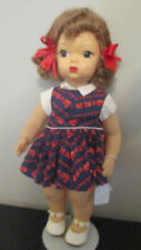 Doll Terri Lee Soft Swiss Fiber Wig Brown  Train Print Dress  Tagged 1950s