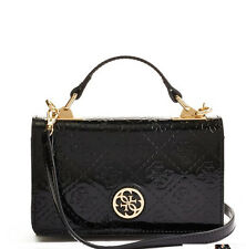 NWT GUESS Cyndy Mini Crossbody Phone case Handbag Purse Patent Leather Black