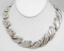 Classic Vintage Mexico Antonio Pineda 970 Silver Leaf Motif Necklace 120.8 grams