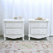 Shabby Cottage Chic Pair of Nightstands with 2 Drawers White French Style