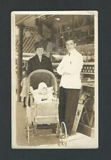 #124  RPPC Tennis Shop Products, Dressed Employee, Mother and  Child in Carriage