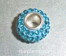 925 Sterling Silber Bead Charm Anhänger Glitzer - Strass türkis blau + Etui