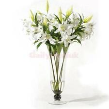 1 Stem Artificial Fake Lily Flowers Plants Bouquet Home Wedding Decor White