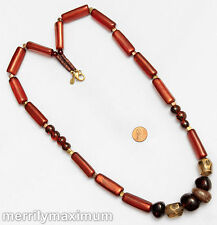 Chico's Signed Necklace Long Gold Tone Amber Color Brown Chunky Beads