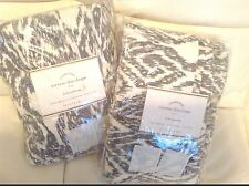 Pottery Barn Torrens Ikat Drape 50x84L Set of Two (2) NIP Charcoal Black & Ivory