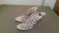 New Frederick's Of Hollywood Silver Rhinestone Net Front High Heels Size 11