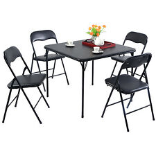 5PC Black Folding Table Chair Set Guest Games Dining Room Kitchen Multi-Purpose