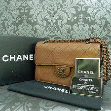 Rise-on CHANEL Leather Brown Double Chain Shoulder bag Handbag #1663