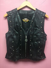EUC Harley Davidson Black Leather Vest Women's Size Medium Made in USA