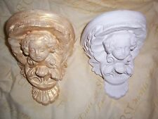 2 x Architectural ornate plaster cherub angel corbel wall hanging decor plaques