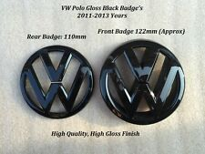 VW Polo 6R Gloss Black Front Grille & Rear Boot Badge Emblems - 09-13 -UK Seller