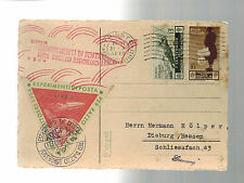 1934 Trieste Italy Rocket Mail Postcard Cover to Dieburg Germany